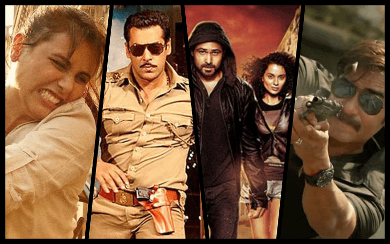 Stills from Mardaani, Dabangg, Ungli and Singham, all Bollywood movies romanticising vigilantism.